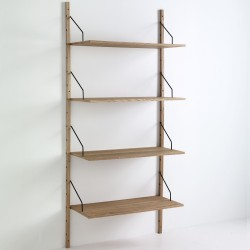 Libreria a montanti a parete con 4 ripiani - KIJU - Frassino H 180 - Ripiani regolabili