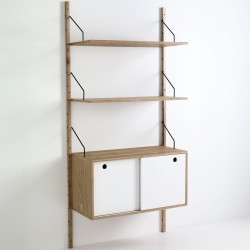 Libreria a montanti a parete con 2 ripiani regolabili + 1 vano contenitore KIJU - H 180 cm