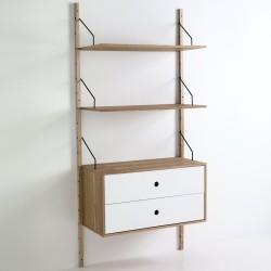 Libreria a montanti a parete con 2 ripiani regolabili+ 1 cassettiera KIJU - H 180 cm