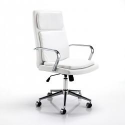 Poltrona da ufficio PRESTIGE WHITE - Pelle bianca - Ruote Piroettanti