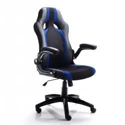Poltrona da ufficio TEAM - BLACK & BLUE - Seduta in tessuto - Schienale Pelle - Alzata a Gas