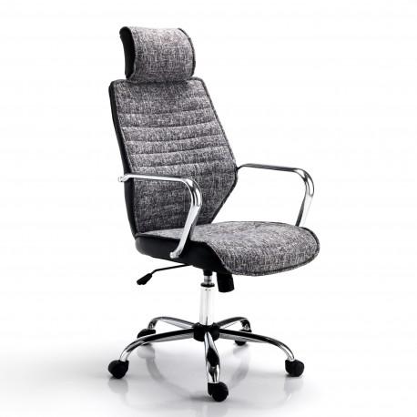 Poltrona da ufficio EVOLUTION - Seduta in tessuto - Schienale Pelle - Ruote piroettanti