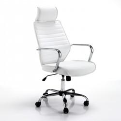 Poltrona da ufficio EVOLUTION WHITE - Seduta in tessuto - Schienale Pelle - Ruote piroettanti