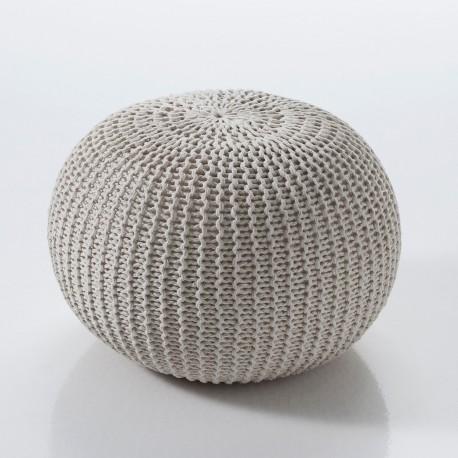 Pouf LIKE CREAM - Cotone di colore grigio - Diametro 50 cm