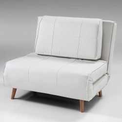Poltrona - letto SHIFT in PELLE BIANCA - Apertura frontale - Letto 180 x 100 cm