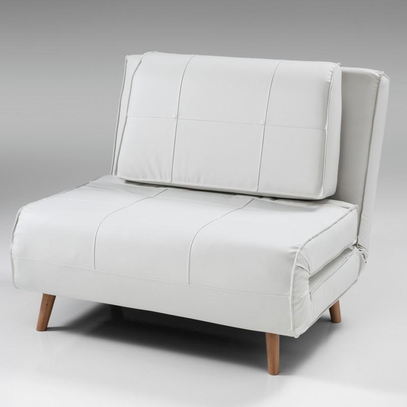 Poltrona letto shift in pelle bianca apertura frontale letto 180 x 100 cm - Letto pelle bianca ...