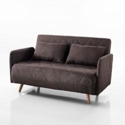 Divano letto TRAFFIC - Tessuto marrone - Apertura frontale - L 120 cm - Letto L 180 cm