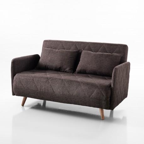 Divano / letto TRAFFIC - Tessuto marrone - Apertura frontale - L 120 cm -  Letto L 180 cm