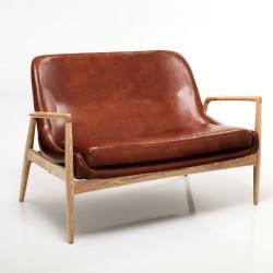 Divano 2 posti KOSMO BROWN - Pelle marrone - L 130 cm