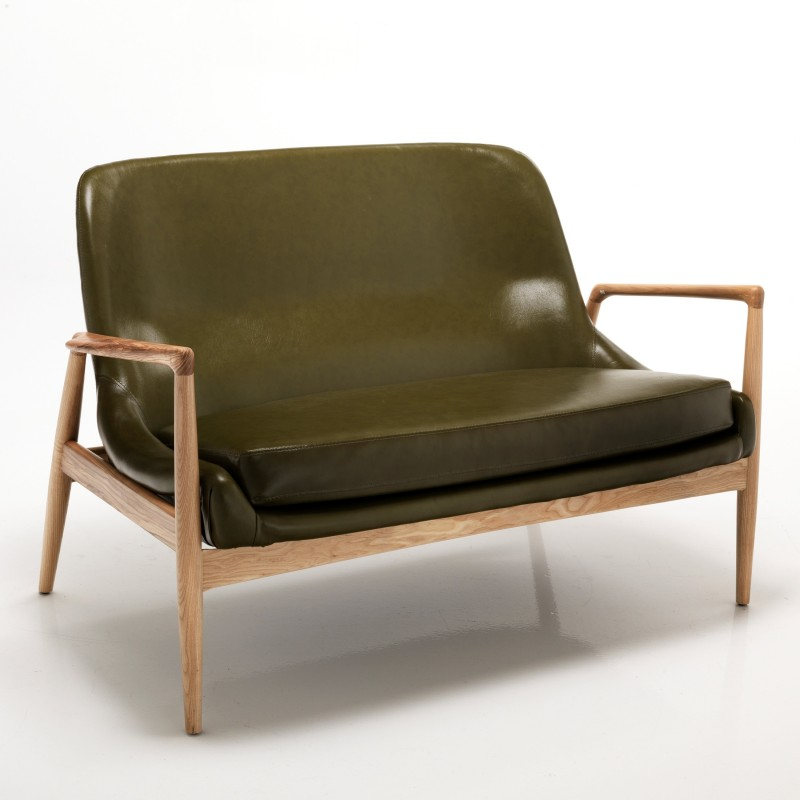 divano 2 posti kosmo green pelle verde l 130 cm