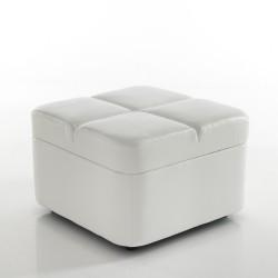 """Pouf  contenitore """"LIVY"""" - PELLE BIANCA - L 64 X 64 cm"""