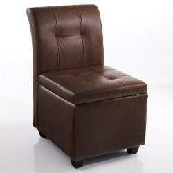 """Sedia con vano contenitore """"MELISSA BROWN"""" - PELLE MARRONE - L 50 cm"""