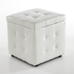 "Pouf  contenitore ""DADO"" - PELLE BIANCA - L 45 cm x P 45 cm"