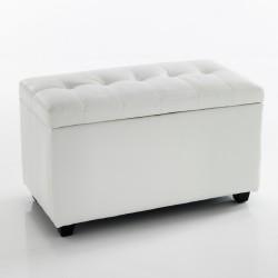 "Cassapanca ""NICE WHITE 80"" CONTENITORE - PELLE BIANCA - L 80 cm"