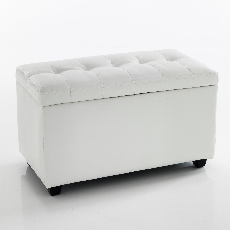 Cassapanca Moderna Bianca.Cassapanca Nice White 80 Contenitore Pelle Bianca L 80 Cm