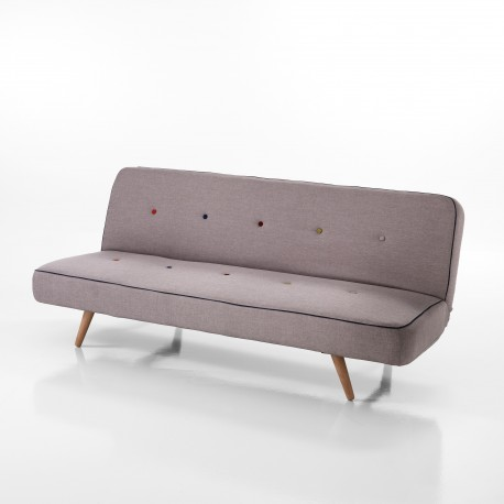Divano letto trasformabile CLIC CLAC URBAN - Tessuto grigio - Bottoni decorativi - L 180