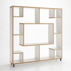 Libreria bi-facciale, parete - centrostanza modello CUBO - L 150 cm H 150 cm