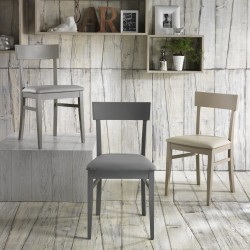 Sedia in legno laccato e seduta imbottita - MONACO
