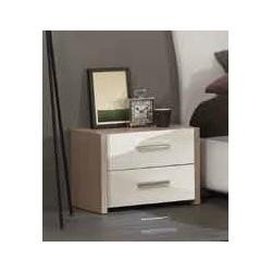 Comodino VIRA 2 cassetti maniglia linea p.160 cromo lucido