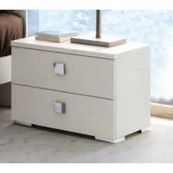 Comodino PLANA 2 cassetti e maniglia quadra cromo lucido