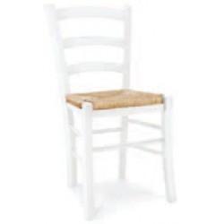 Sedia laccata bianco fondo legno