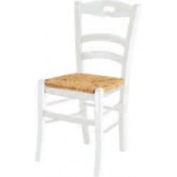 Sedia con foro bianca, fondo legno