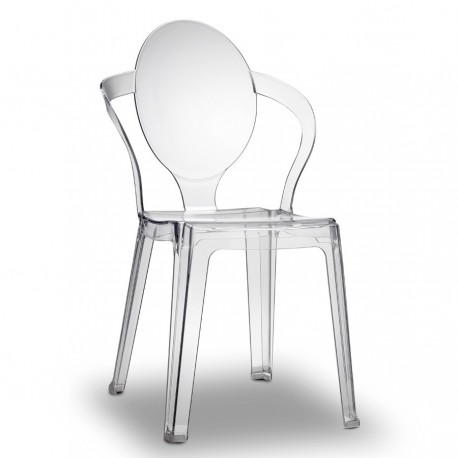 Sedia in policarbonato riciclabile trasparente impilabile SPOON