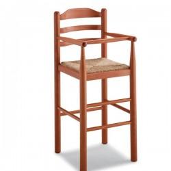 Sgabello BABY in legno con sedile paglia/massello
