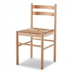 Sedia LAURA in legno con sedile paglia/massello