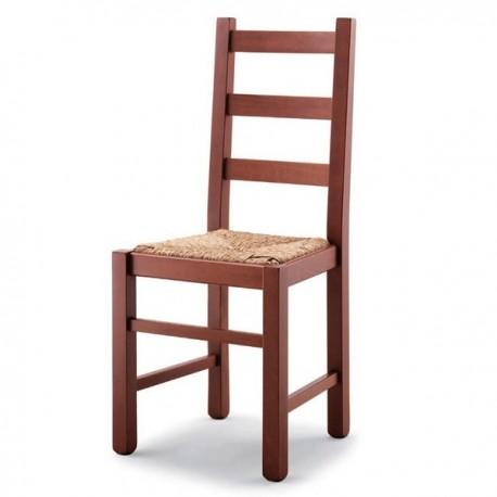 Sedia RUSTICA in legno con sedile paglia/massello
