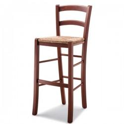 Sgabello VENEZIA in legno con sedile paglia/massello