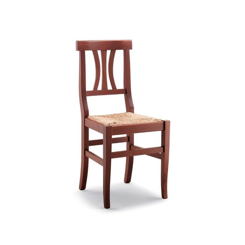 sedia arte povera in legno con sedile paglia massello
