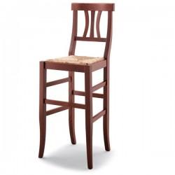 Sgabello ARTE POVERA in legno con sedile paglia/massello/imbottito