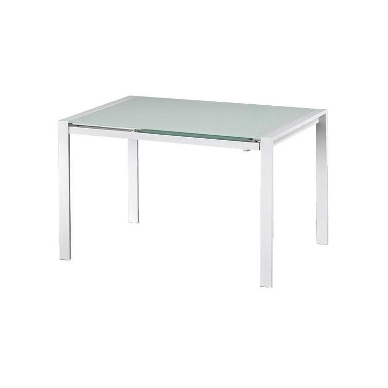 Tavolo allungabile con piano in vetro temperato bianco for Tavolo vetro bianco