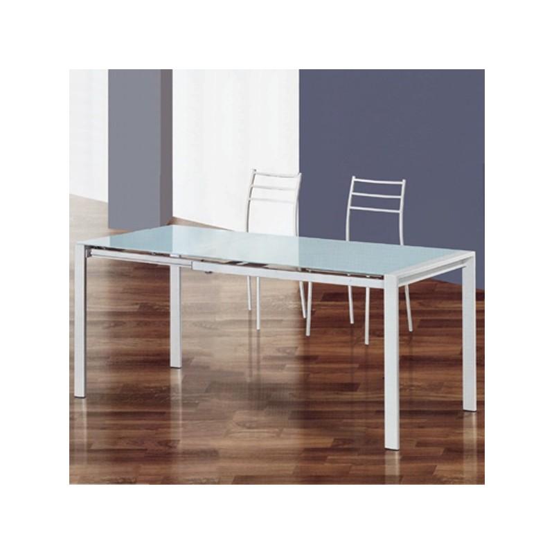 Tavolo allungabile con piano in vetro temperato bianco - SCIROCCO