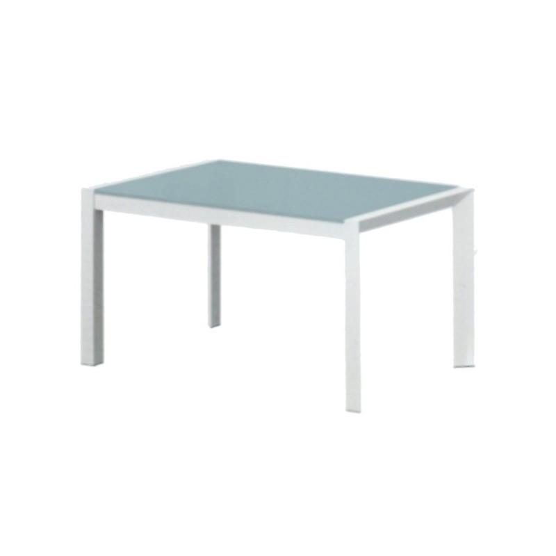Tavolo allungabile a slitta con piano in vetro temperato for Tavolo vetro bianco