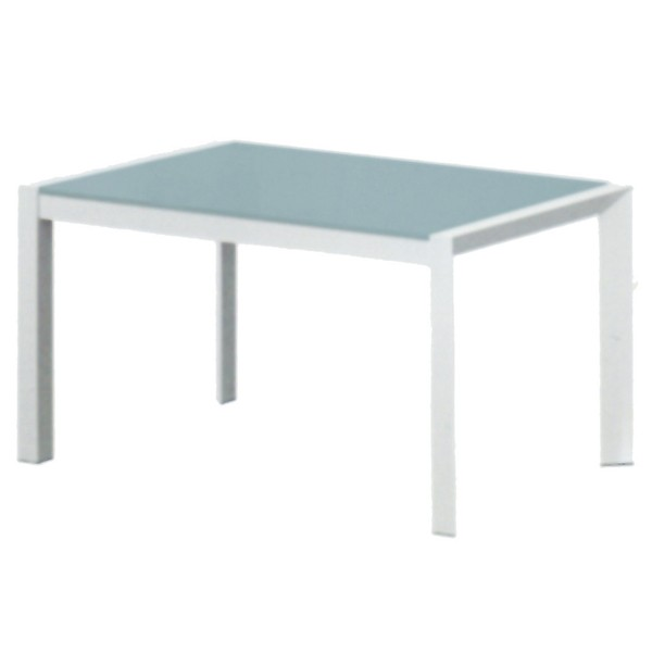Tavolo Allungabile Con Piano In Vetro.Tavolo Allungabile A Slitta Con Piano In Vetro Temperato Bianco Da