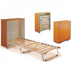 Letto pieghevole a scomparsa con mobiletto e materasso singolo - Materasso divano letto pieghevole ...