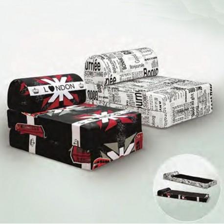 Poltrona letto con cuscino Pouf trasformabile Dimensioni 60X78X48 Letto 180x60x12