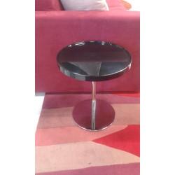 Tavolino tondo nero lucido con gambe alluminio D40 H47