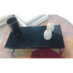 Tavolino rettangolare nero lucido con gambe alluminio 55x110