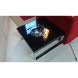 Tavolino quadrato nero lucido con gambe alluminio 60x60